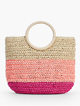 Crochet Straw Circle-Handled Tote