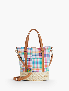 Madras Plaid Bucket Satchel
