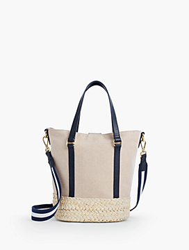 Two-Tone Cotton Bucket Satchel