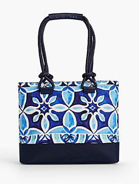 Rope-Handle Print Tote
