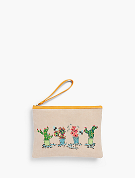 Cactus-Embroidered Novelty Wristlet