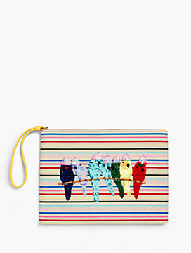 Birds & Stripes Novelty Wristlet