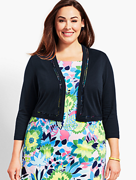 Plus Size Exclusive Lace-Trim Dress Shrug