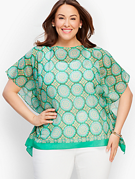 Womans Exclusive Modern Medallion Blocks Poncho