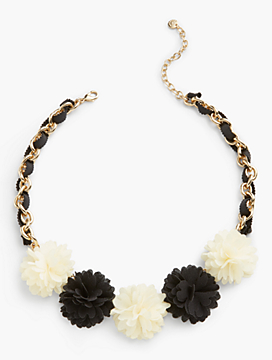 Fabric Flower Statement Necklace