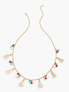 Long Bauble-Cluster & Tassel Necklace