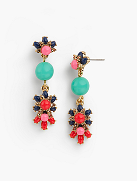 Flowers & Bead Drop Earrings