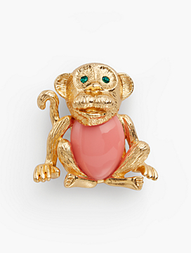 Curious Monkey Brooch