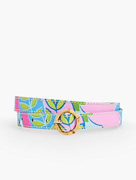 Bamboo-Buckled Cotton Print Belt