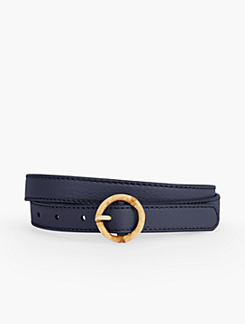 Bamboo-Buckled Pebble Leather Belt