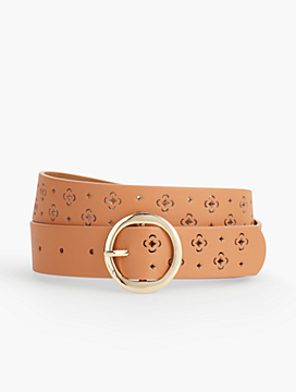 Perforated Clover Leather Belt