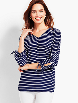 Tie-Sleeve Stripe V-Neck Top