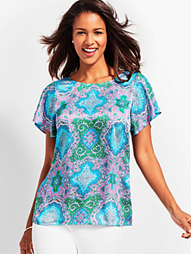 V-Back Flutter Top-Paisley