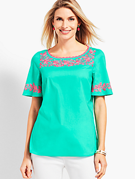 Embroidered Flutter-Sleeve Top