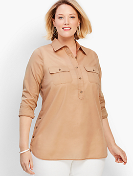 Collared Side-Button Voile Safari Shirt