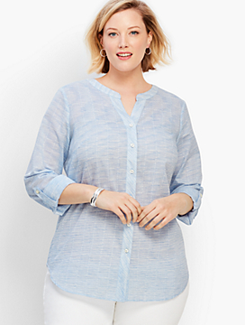 Space-Dye Pickstitch Button-Front Shirt