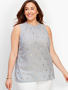 Cotton Keyhole Top - Metallic Stripe