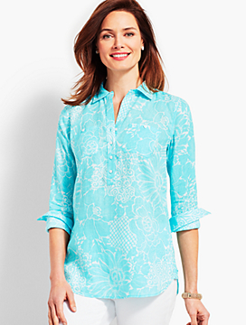 Dotted Flowers Linen Camp Shirt