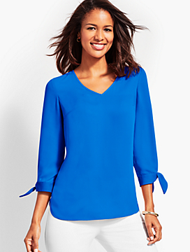 Tie-Sleeve V-Neck Top