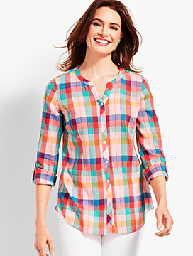 Soft Crinkle Gauze Sunkissed Check Shirt