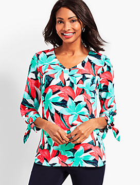 Tie-Sleeve V-Neck Top-Tropical Floral