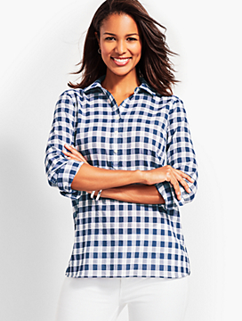 Dobby Seersucker Gingham Popover Top