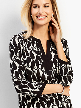 Shadow Paisley Tunic Top