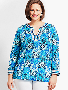Plus Size Exclusive Medallion Tiles Tunic