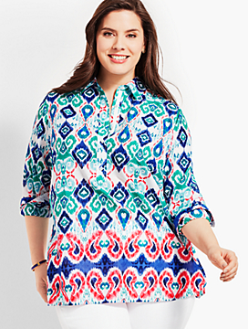 Plus Size Exclusive Paisley Ikat Popover