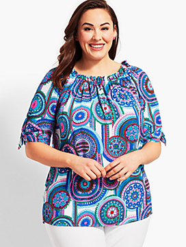 Plus Size Exclusive Off-The-Shoulder Top-Island Turquoise Medallion
