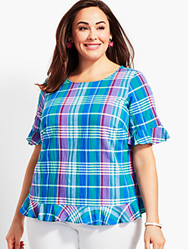 Plus Size Exclusive Lighthouse Plaid Popover
