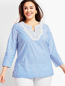 Womans Exclusive Stripe Tunic-Sea Breeze