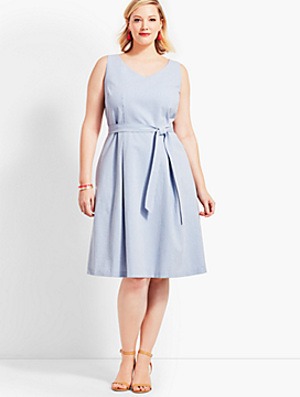 Belted Seersucker Fit-and-Flare Dress