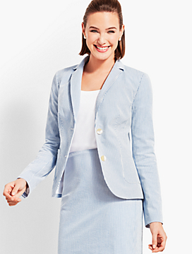 Seersucker Double-Button Blazer