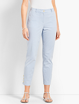 Seersucker Crop Suit Pant