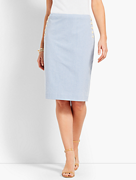 Seersucker Pencil Skirt