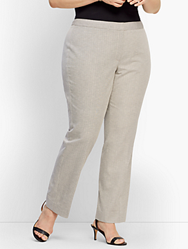 Plus Size Exclusive Square Dobby Straight-Leg Pant