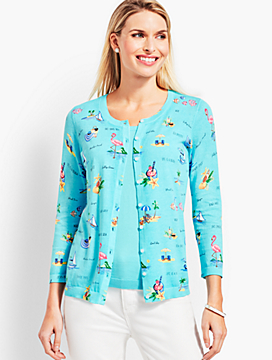 Tropical Scalloped-Edge Charming Cardigan