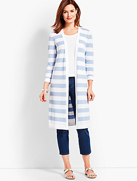 Long Marled Stripe Fashion Duster
