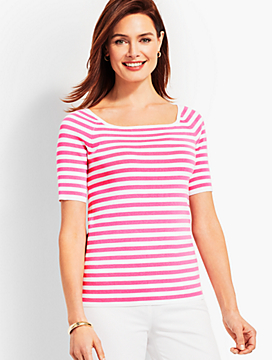 Square-Neck Elbow-Sleeve Sweater Topper-Resort Stripe