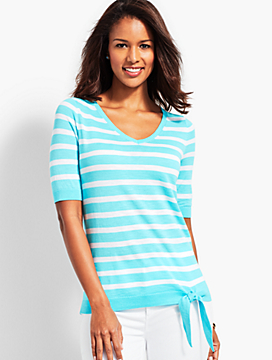 Relaxed Tie-Front Sweater-Stripe