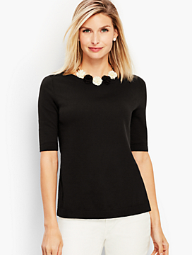 Button-Back Elbow-Sleeve Sweater
