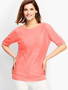 Linen Back-V-Neck Sweater