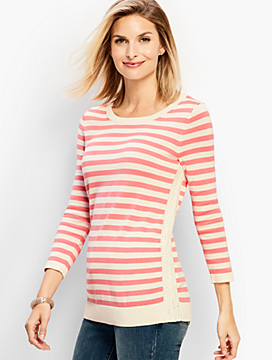 Crochet-Side Stripe Sweater