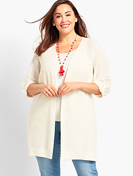 Textured Linen Roll-Tab Long Duster