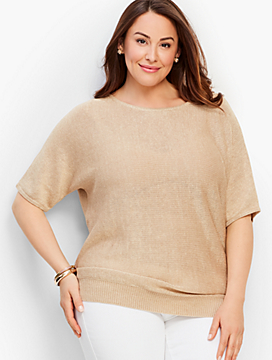 Metallic Dolman-Sleeve V-Back Sweater