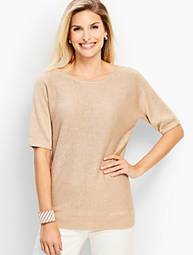 Linen Back-V-Neck Sweater- Metallic