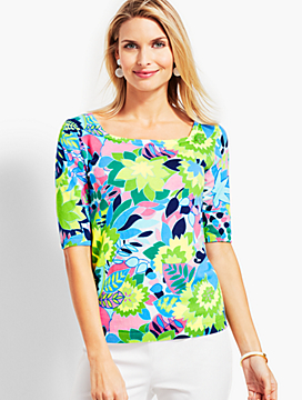 Tropical Geo-Floral Square-Neck Elbow-Sleeve Sweater Topper