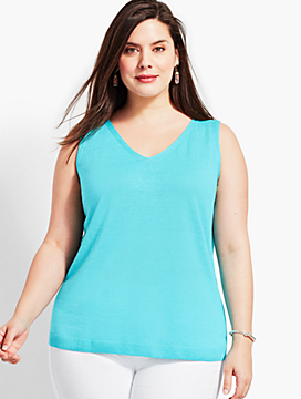 Plus Size Exclusive V-Neck Sweater Shell