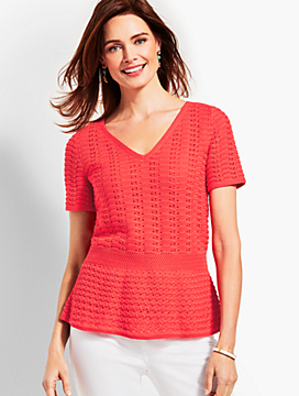 Double-V Crochet Peplum Sweater